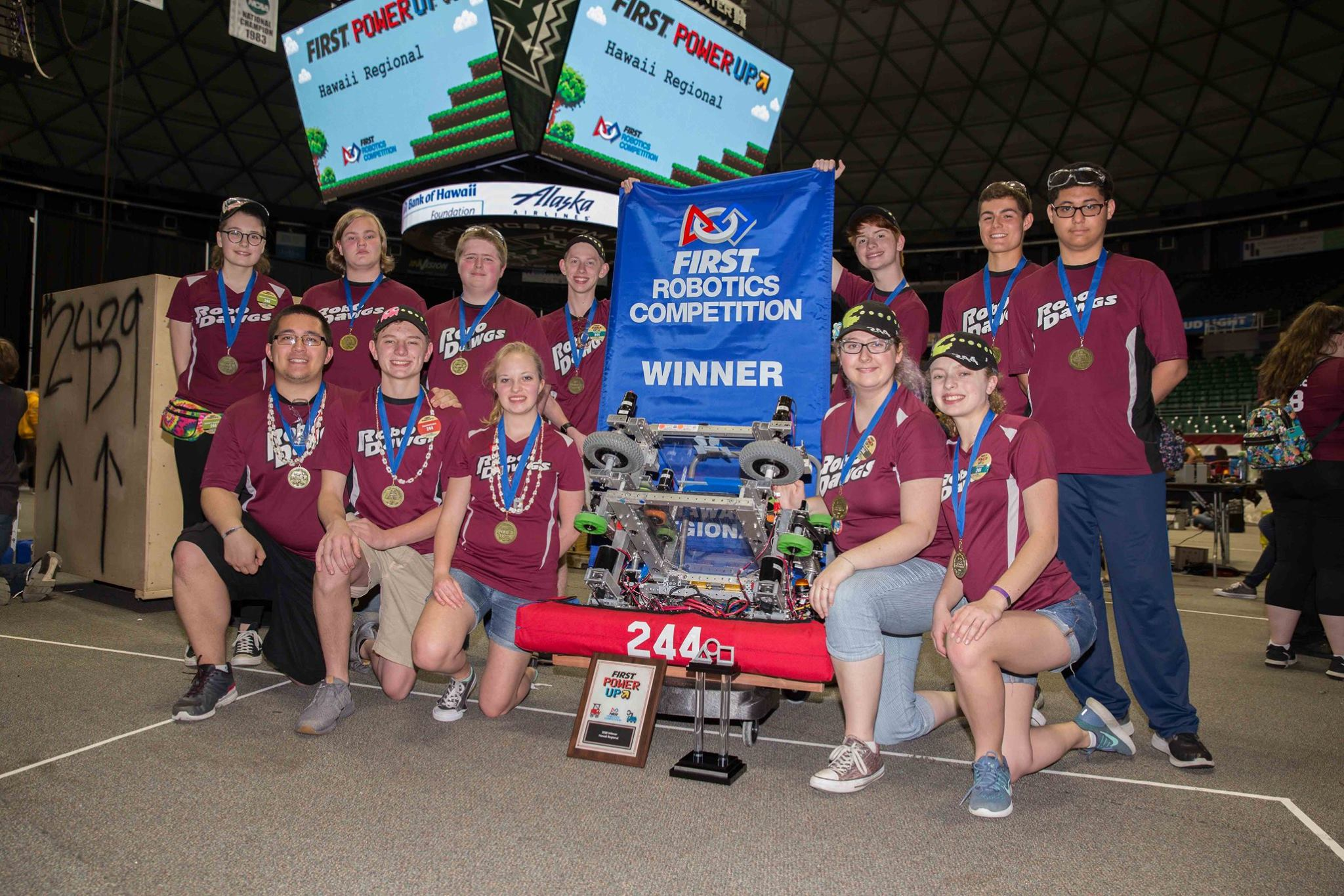 2018 Team 244 FRC team members celebrate a win at the Hawaii Western Regional.