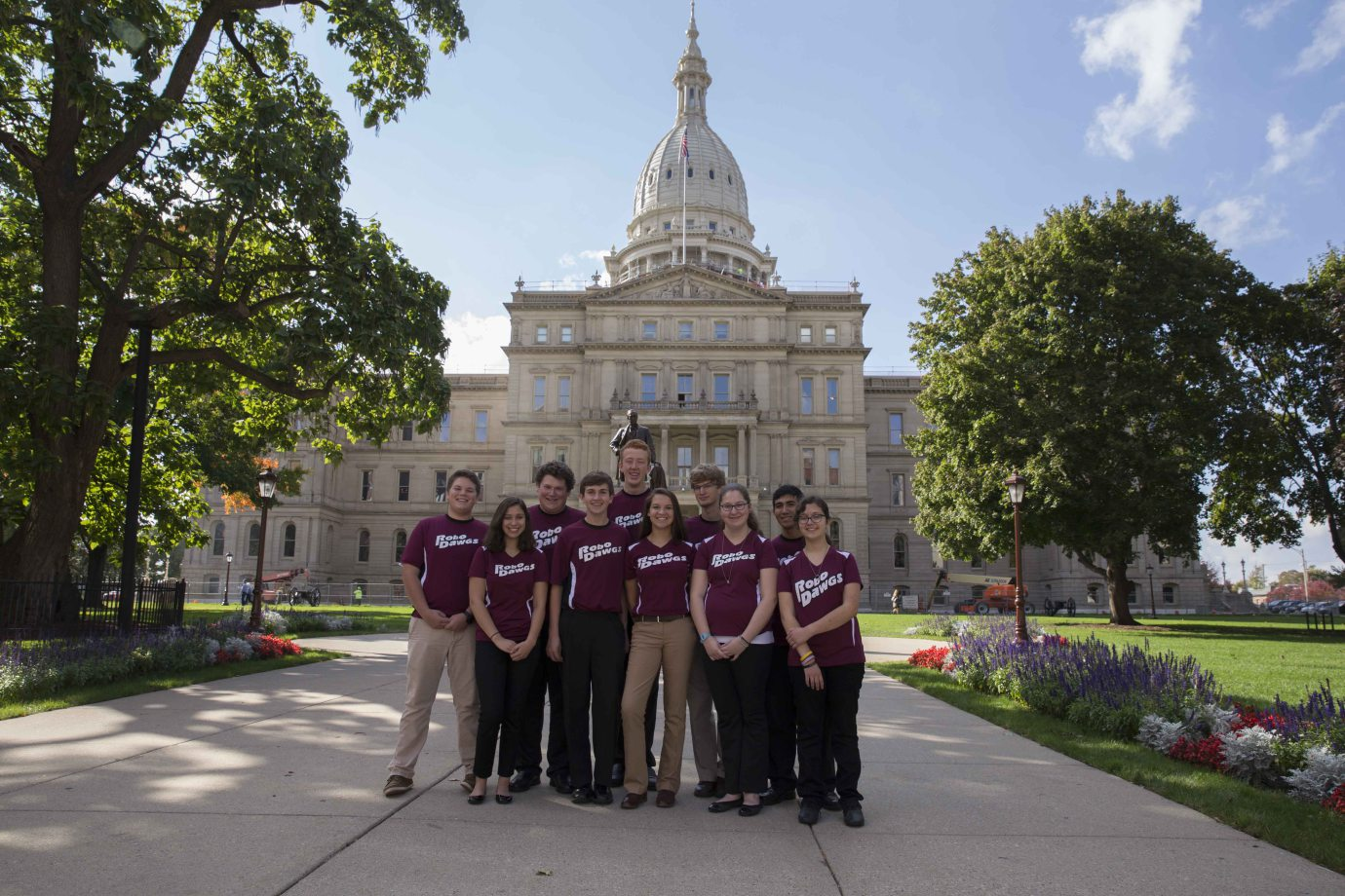 RoboDawgs at the Michigan state capital advocating for more STEM opportunities for students in Michigan.